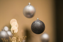 silver and glitter Christmas ornaments