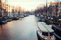 boats anchored in a canal