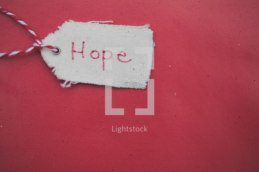"""A Christmas gift tag reading """"Hope,"""" on a red background."""