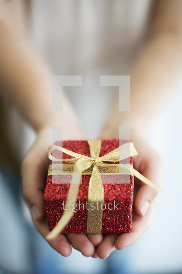 a woman holding a wrapped Christmas gift.
