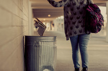 Student, Reject gospel, reject bible, throwing bible in trash, school, youth, teenager