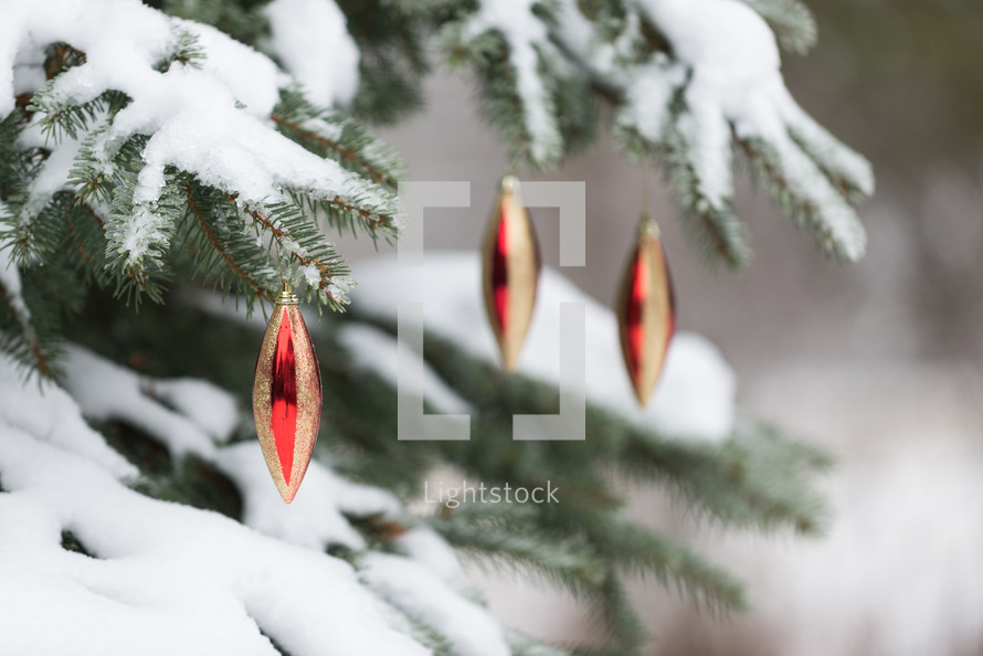 christmas ornaments on a snow covered tree