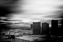 viewing distant mountains from a Las Vegas hotel