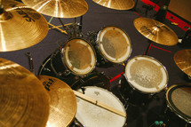 drum set and cymbals