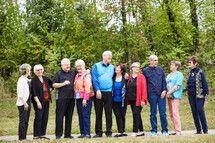 senior citizen fellowship group standing together
