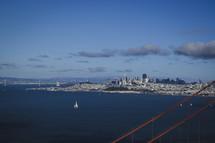 aerial view over a coastal city