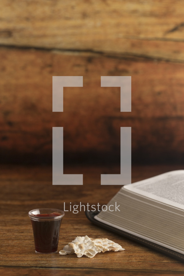 communion elements and open Bible