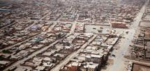Aerial view of a city below