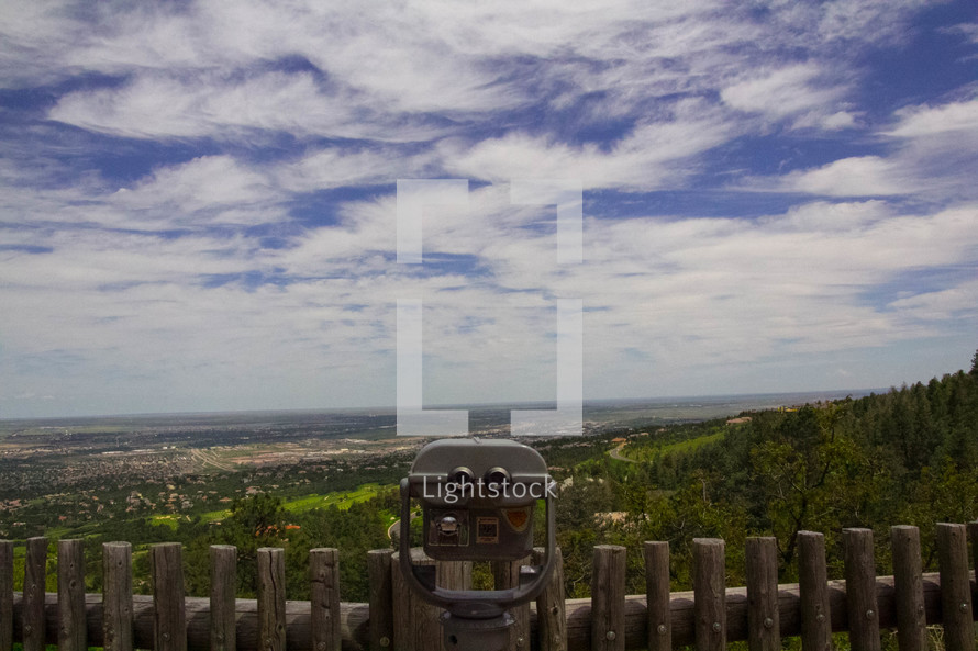 viewfinder scope looking out into a valley