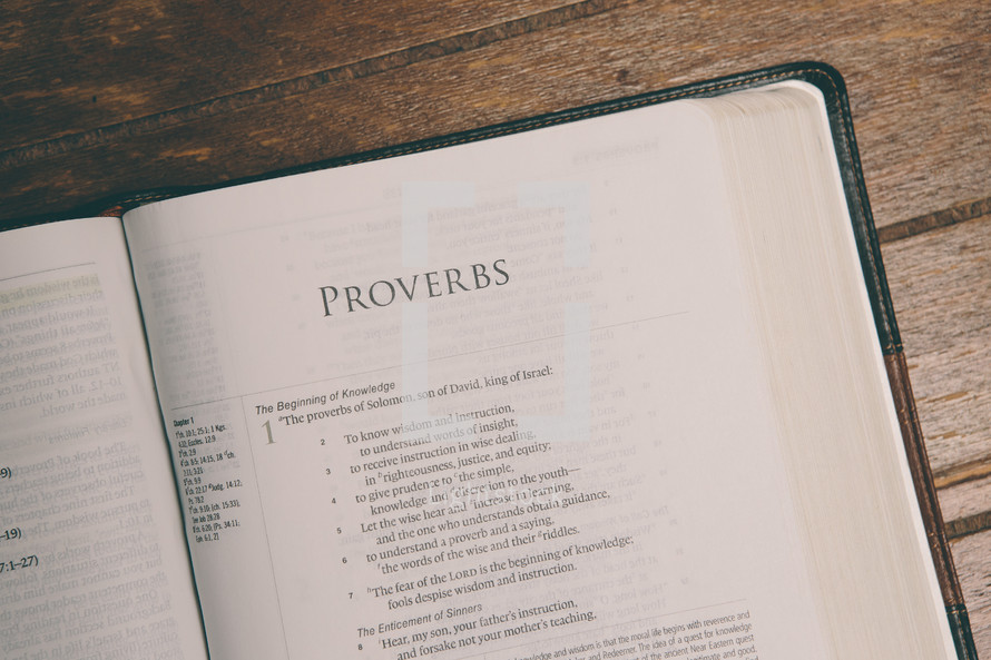 Bible opened to Proverbs
