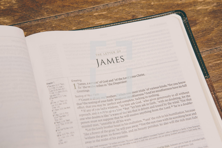 Bible opened to James