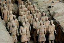 Terra cotta statues of ancient Chinese warriors.