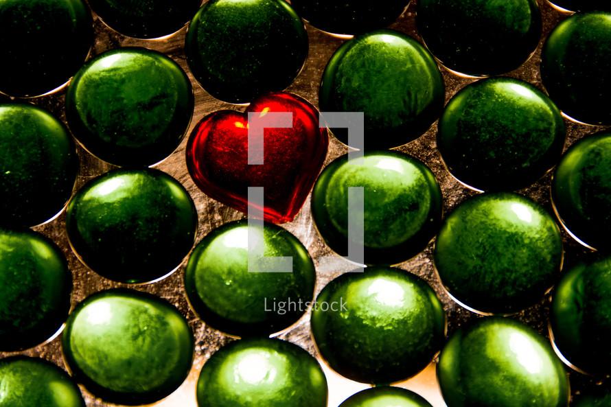glass heart in green