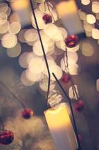Christmas ornaments and bokeh Christmas lights