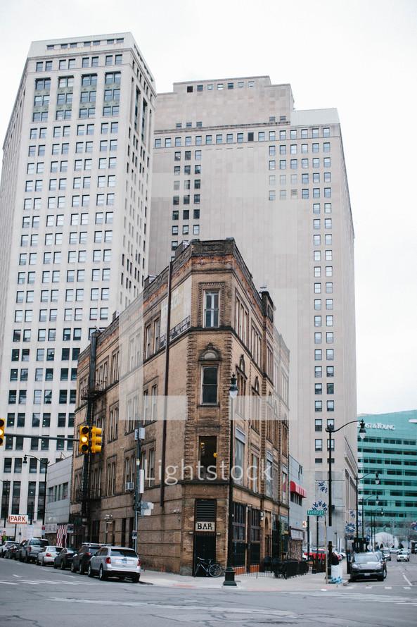 city street corner and buildings