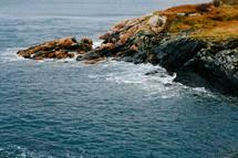 a rocky shoreline