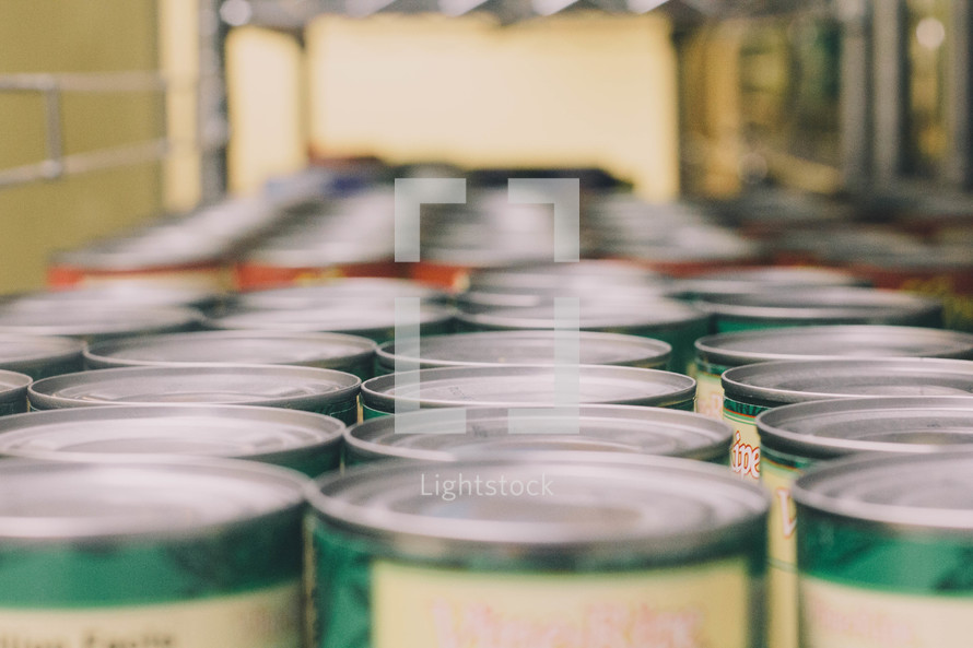 Rows of canned goods.