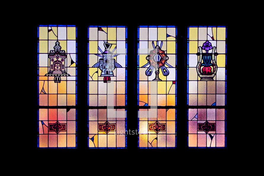 Stained glass church windows.