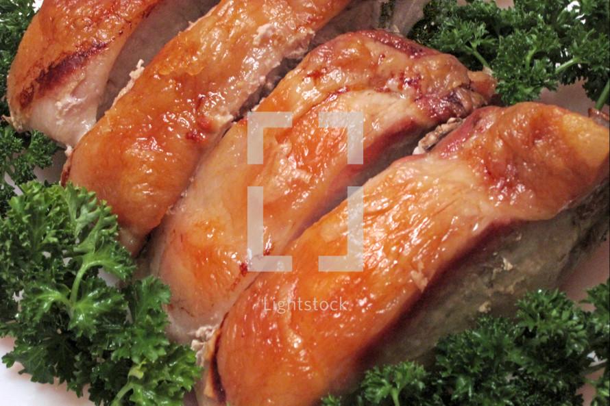 Slices of pork roast.