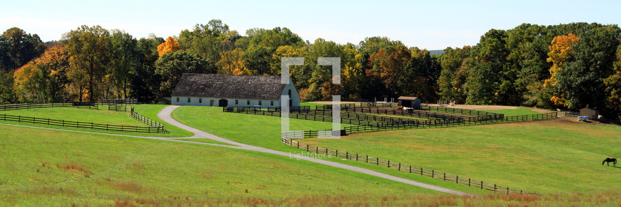 panorama of a horse farm