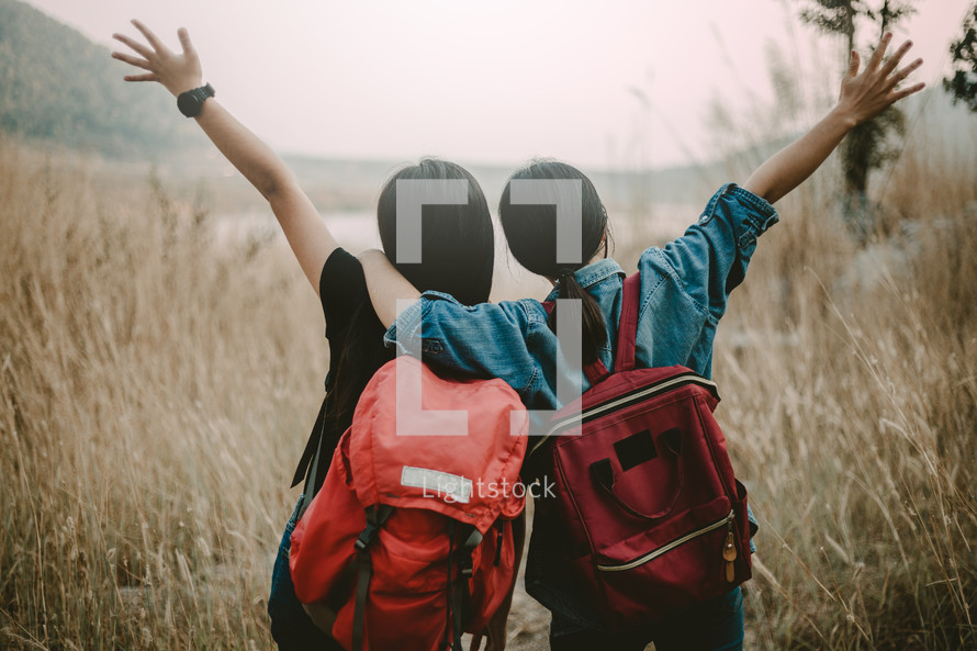 female friends backpacking