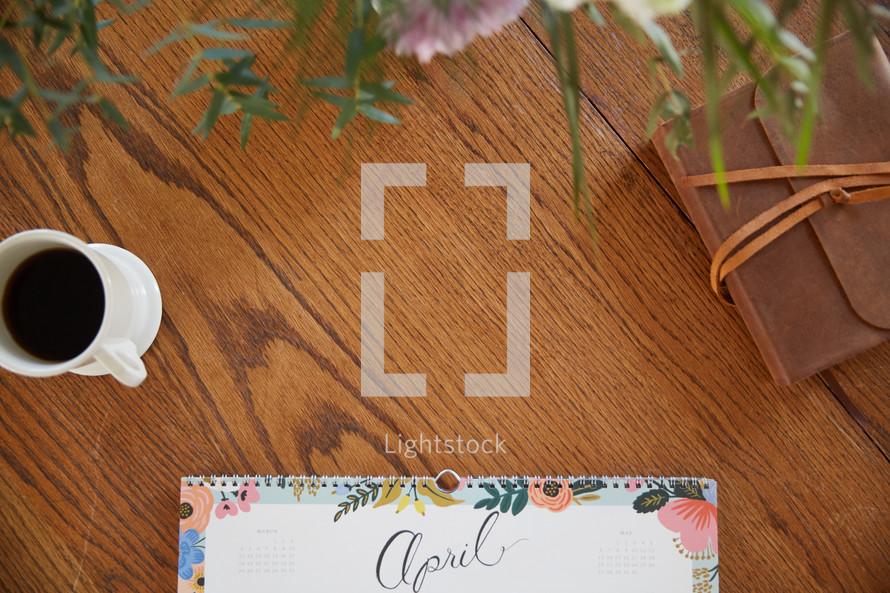 April calendar on a desk