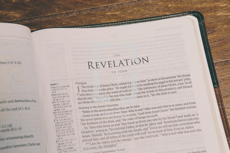 Bible opened to Revelation