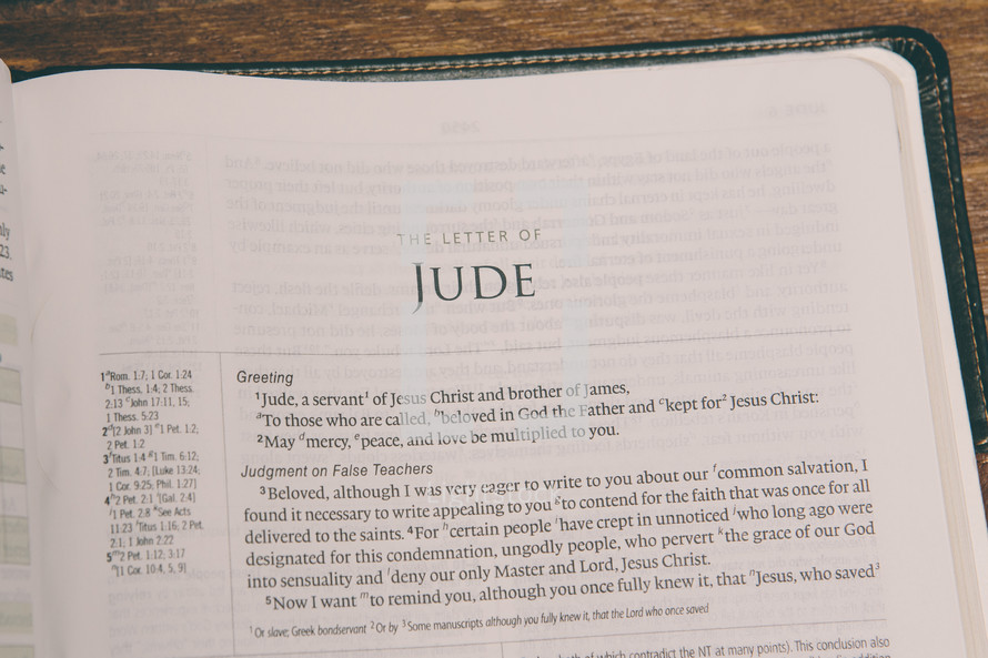 Bible opened to Jude