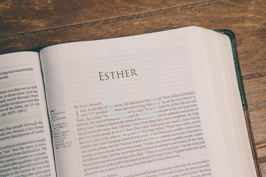 Bible opened to Esther