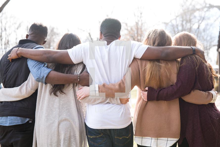 friends embracing