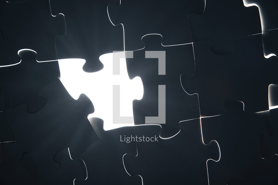 glowing section of a puzzle.