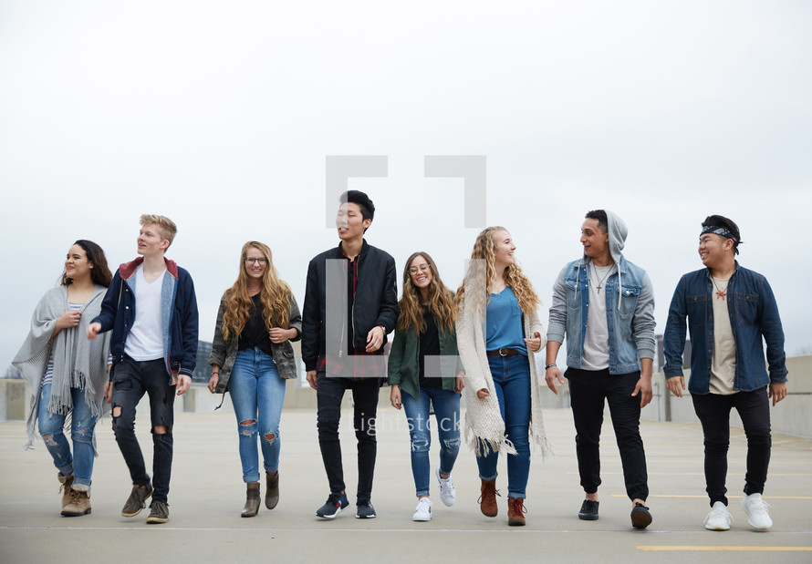 group of teens walking