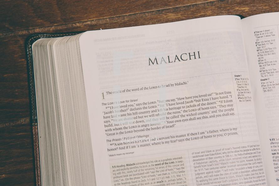 Bible opened to Malachi