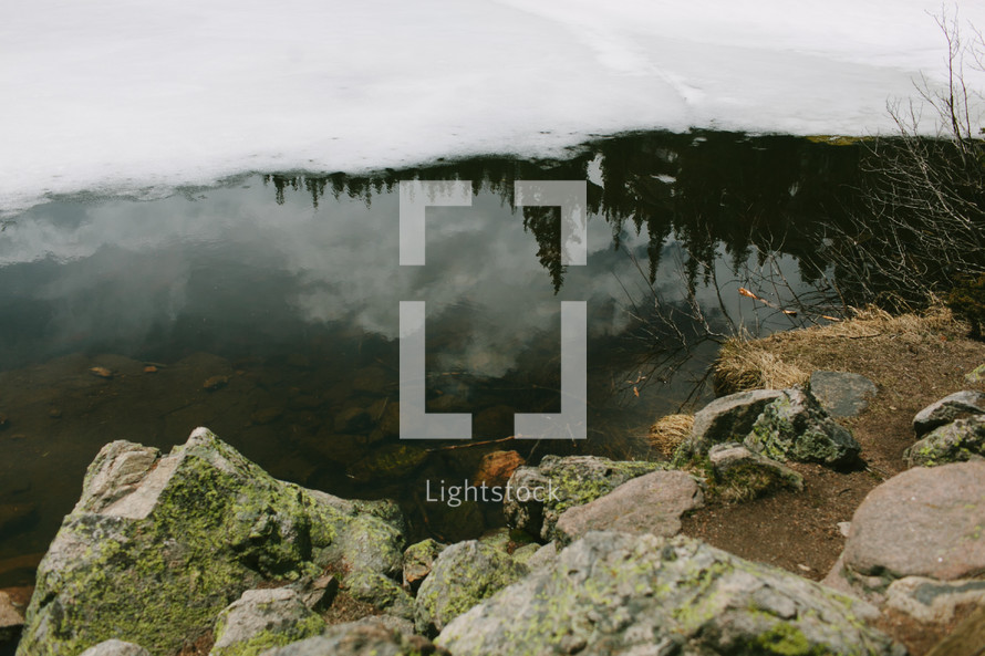 melting frozen pond