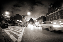 New York City street traffic at night