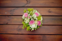 bouquet of flowers on a wood table