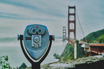 view finder scope and view of the Golden Gate Bridge