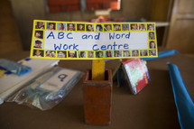 abc and word work center sign