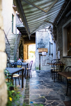 outdoor seating at a restaurant in Italy