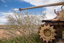 Old Tank in the desert Area around Gaza, Israel