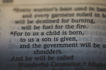 Isaiah 9:6 - For to us a child is born