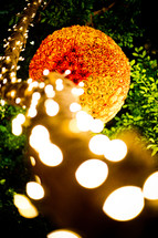 tree branch wrapped in lights and a decorative ball of roses