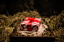 wrapped present on swaddling cloth in a manger