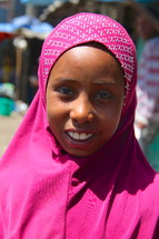 Shrouded muslim girl with broad smile [For similar search Ethnic Face Smile].