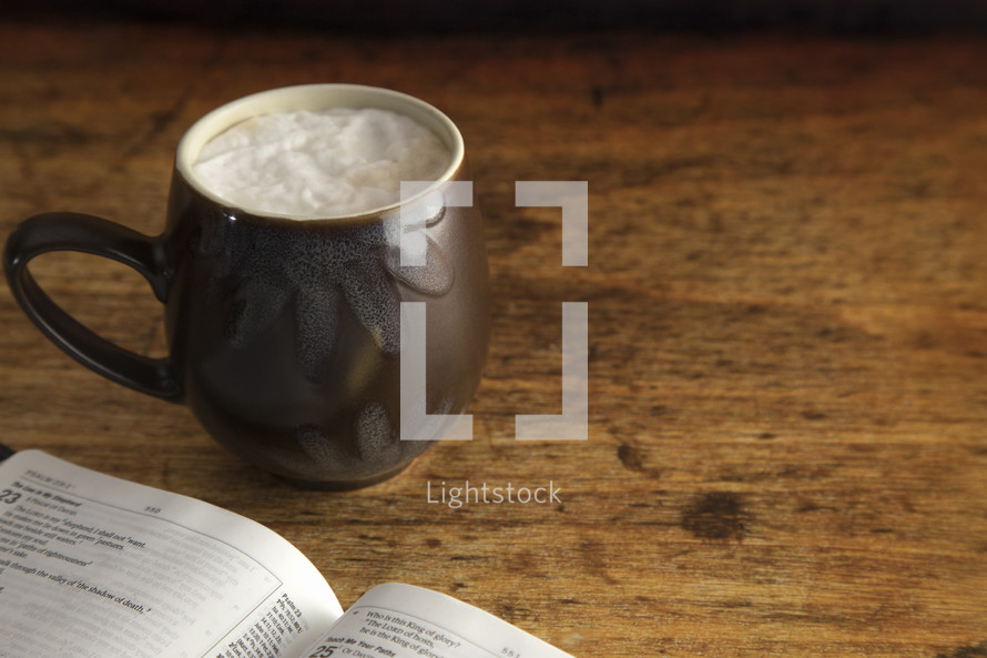 latte and open Bible