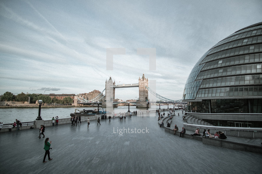 London Bridge and glass dome building