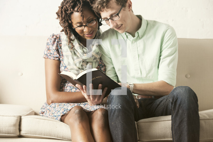 couple reading a Bible together