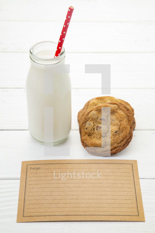 milk and cookies and blank recipe card