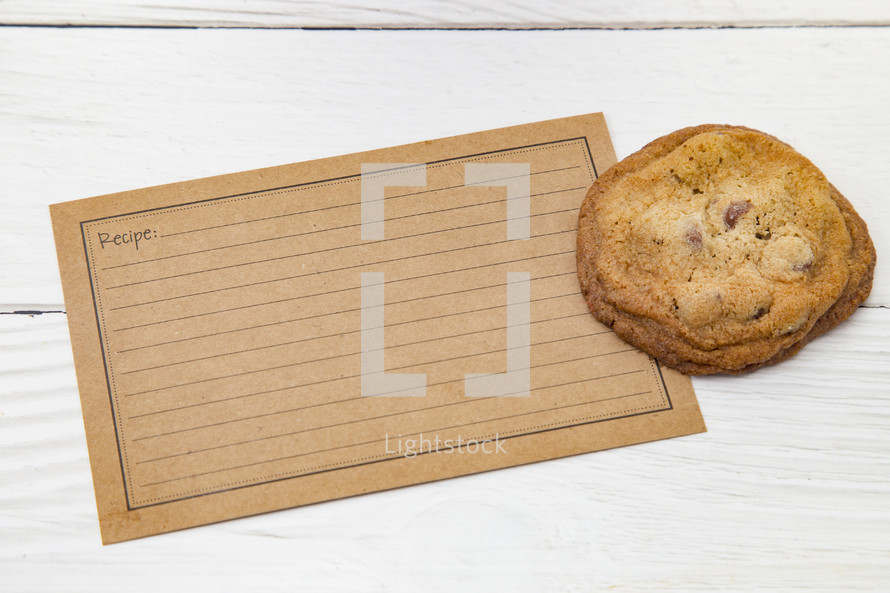 cookies and blank recipe card