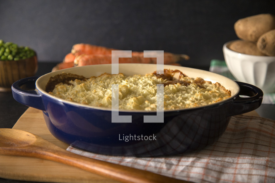 Cottage or Shephards Pie topped with Piped Mashed Potatoes